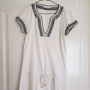 Tory Burch White and Navy Casual Dress